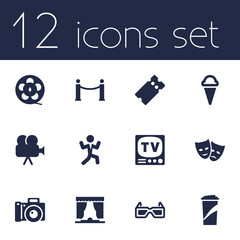 Set Of 12 Amusement Icons Set.Collection Of Disco, Curtain, Camera And Other Elements.