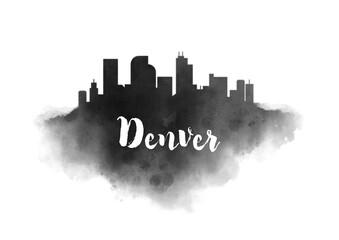 Watercolor Denver City Skyline