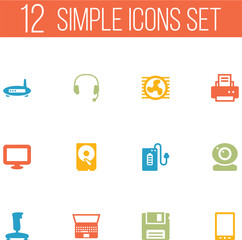 Set Of 12 Notebook Icons Set.Collection Of Headset, Hard Disk, Peripheral And Other Elements.