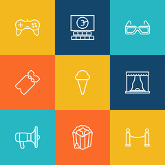 Set Of 9 Amusement Outline Icons Set.Collection Of Popcorn, Theater, 3D Glasses And Other Elements.