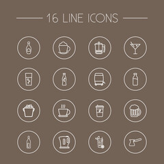 Set Of 16 Drinks Outline Icons Set.Collection Of Kettle, Soda, Ice Bucket And Other Elements.