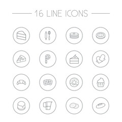 Set Of 16 Cooking Outline Icons Set.Collection Of Donuts, Gloves, Rolling Pin And Other Elements.