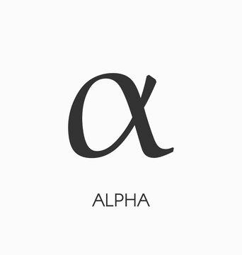 Alpha letter vector sign