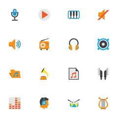 Audio Flat Icons Set. Collection Of Pianoforte, Audio, Shellac And Other Elements. Also Includes Symbols Such As Earmuff, Mute, Male.