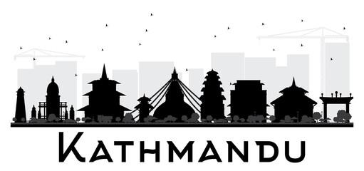 Kathmandu City skyline black and white silhouette.