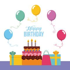 happy birthday kawaii gifts vector icon illustration design graphic