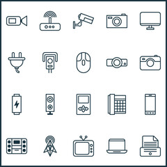 Hardware Icons Set. Collection Of Video Camcorder, Presentation, Speaker And Other Elements. Also Includes Symbols Such As Electrical, Television, Monitor.