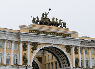 Arch of the General Staff on palace square in St. Petersburg Russia