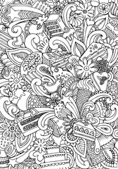 Engraving vintage hand drawn vector cookies and croissant Sketch