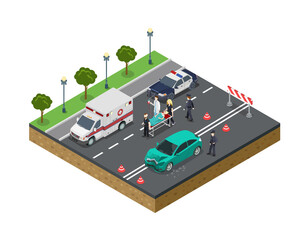 Flat isometric police doctor Injured crash vector. 3d emergence.