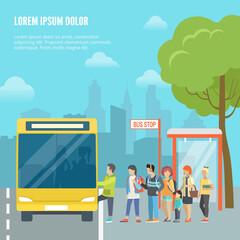 Flat people bus cityscape vector illustration. Street traffic.