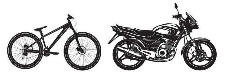 Bike Bicycle black and white, sports bike, motorcycle.Vector illustration.