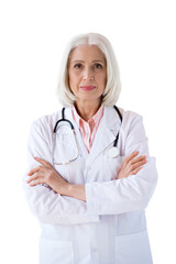 confident senior doctor looking at camera with crossed arms isolated on white