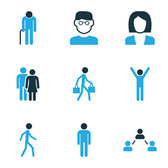 Human Colorful Icons Set. Collection Of Contact, Happiness, Clever And Other Elements. Also Includes Symbols Such As Head, Man, Social.