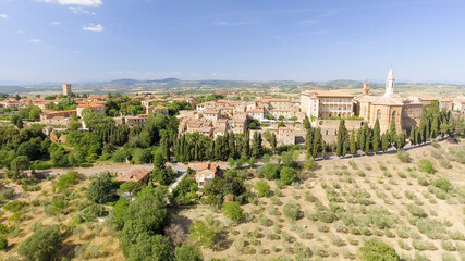 Beautiful aerial view of Pienza, small medieval town of Tuscany - Italy