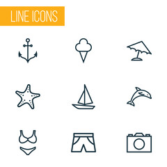 Sun Outline Icons Set. Collection Of Ship, Ice Cream, Armature And Other Elements. Also Includes Symbols Such As Mammal, Panties, Ship.