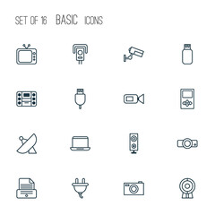 Hardware Icons Set. Collection Of Digital Camera, Television, Notebook And Other Elements. Also Includes Symbols Such As Usb, Antenna, Megaphone.