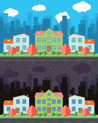 Vector city with three two-story cartoon houses in the day and night. Summer urban landscape. Street view with cityscape on a background