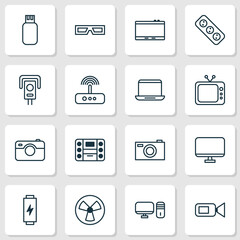 Hardware Icons Set. Collection Of Security Camera, Digital Camera, Charge And Other Elements. Also Includes Symbols Such As Monitor, Fan, Display.