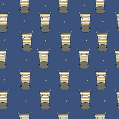 Zebra on a blue background. Seamless pattern with cute zebras.