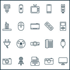 Hardware Icons Set. Collection Of Socket, Presentation, Ventilator And Other Elements. Also Includes Symbols Such As Phone, Cursor, Socket.