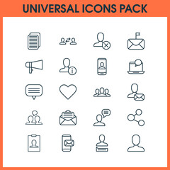 Social Icons Set. Collection Of Privacy Information, Phone Messaging, Talking Person And Other Elements. Also Includes Symbols Such As Private, Mailing, People.