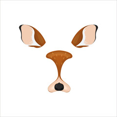 Deer face elements. Vector illustration. Animal character ears and nose. Video chart filter effect for selfie photo decoration. Cartoon brown deer mask. Isolated on white. Easy to edit.
