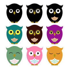 Owls. Set of cute owl icons
