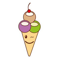 Delicious ice cream cone kawaii character vector illustration design