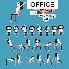 Pretty girl is doing exercises on the office chair.Woman in healthy poses set