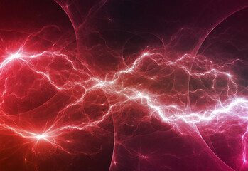 Red fractal lightning, abstract electric background