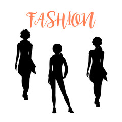 Fashion woman silhouettesa in loose clothes