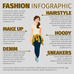 Girl in sports clothes fashion infographic
