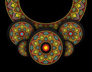 Embroidery folk necklace on black