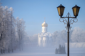Dzerzhinsky, Russia - December, 2016: Ugresha Monastery in a foggy winter day.