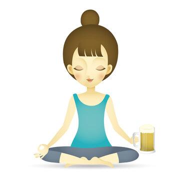 Vector illustration of woman doing yoga beer