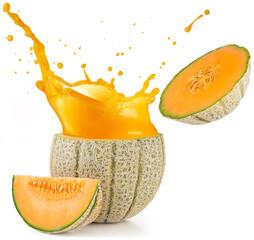 orange juice splashing out of a melon isolated on white