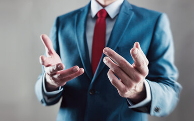businessman explained his strategy with hands