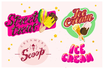 Vector flat collection of ice cream logo design isolated. Cartoon style.