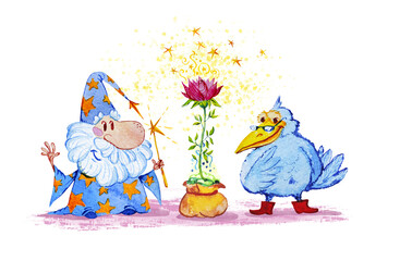 Artistic watercolor hand drawn magic illustration with stars, wizard, blue crow and pink flower isolated on white background. Fairy tale magician. Children illustration.