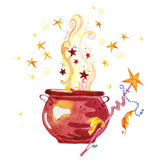 Artistic watercolor hand drawn magic pot illustration with stars, smoke, fire and wand isolated on white background. Fairy tale magician. Children illustration.