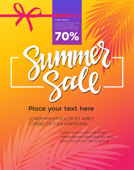 Summer Sale - vector leaflet template with brush lettering