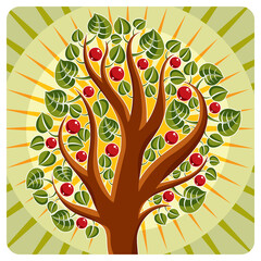Tree with ripe apples placed on stylized background, harvest season theme illustration. Fruitfulness and fertility idea symbolic image.