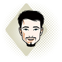 Vector illustration of handsome brunet male face with mustache and beard, positive face features, clipart.