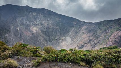 irazu volcano crater in Costa Rica , top view