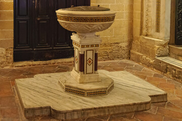 Baptismal font in the Royal Chapel Cappella Palatina - Palermo, Sicily, Italy