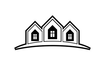 Abstract vector houses with horizon line. Can be used in advertising and branding as a corporate symbol. Real estate business theme.