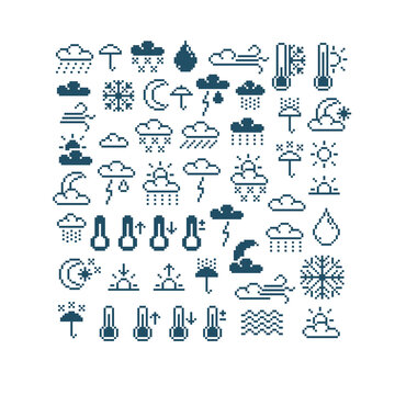 Set of vector meteorology retro signs made in pixel art style. Climate conditions theme geometric pixilated symbols.