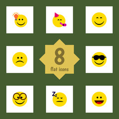 Flat Gesture Set Of Laugh, Happy, Pleasant And Other Vector Objects. Also Includes Pleasant, Idea, Emoji Elements.