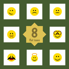 Flat Face Set Of Sad, Cheerful, Joy And Other Vector Objects. Also Includes Face, Pleasant, Winking Elements.